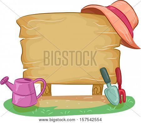 Colorful Illustration Featuring a Blank Wooden Board Beside Gardening Tools