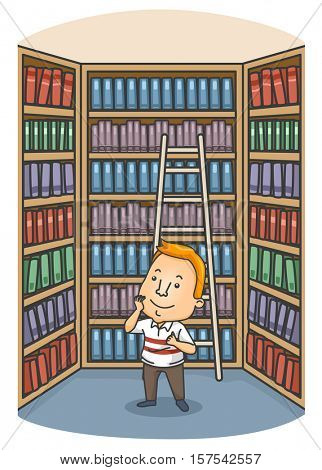 Illustration of a Man Surrounded by a Large Selection of Books Trying to Choose One to Read
