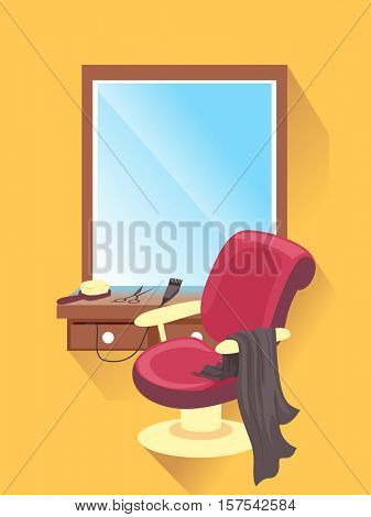 Flat Illustration Featuring a Barber Shop with a Reclining Chair Seated Beside a Set of Cutting Tools Arranged on a Dresser