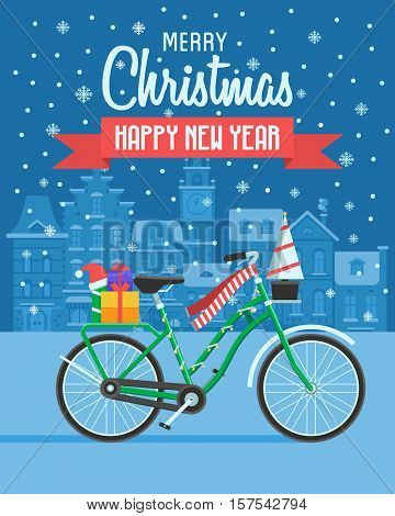 Christmas bicycle wishing card with traditional celebrating text. Merry Christmas and Happy New Year greetings card with winter bike on europe city background. Winter holidays congratulation template.