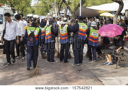 BANGKOK THAILAND - NOV 1 : group of cleaner staff in Sanam Luang while the funeral of king Bhumibol Adulyadej in Grand Palace on november 1 2016
