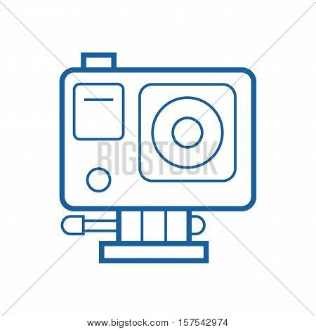 Action camera vector icon. Extreme camera illustration in thin line design. Motion cam isolated on white background.