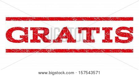 Gratis watermark stamp. Text caption between parallel lines with grunge design style. Rubber seal stamp with dust texture. Vector red color ink imprint on a white background.