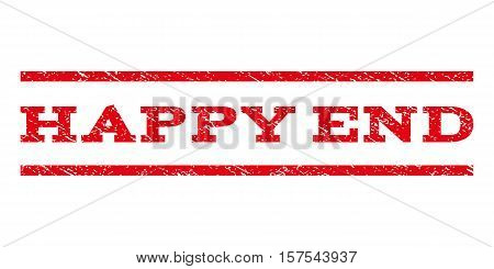 Happy End watermark stamp. Text caption between parallel lines with grunge design style. Rubber seal stamp with scratched texture. Vector red color ink imprint on a white background.