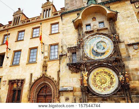 The Prague Astronomical Clock (prague Orloj) At The Old Town Square In Prague, Czech Republic