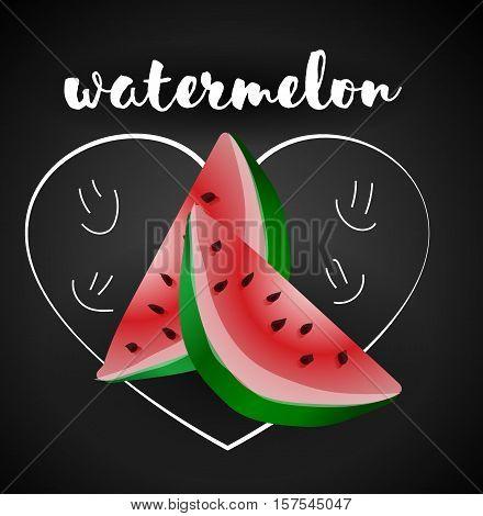 Watermelon Isolated, Watermelon Vector. Composition of Watermelon on white background. Watermelon icon, fruit set. Juicy Watermelon, Watermelon Slice. Fruit Composition for Packaging Juice, Yogurt.