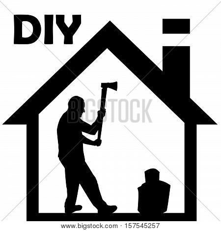 Silhouette of a man chopping woods  on white background