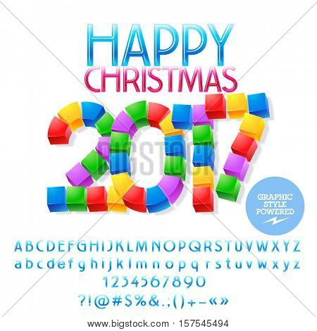 Vector funny cube Happy Christmas 2017 greeting card with set of letters, symbols and numbers. File contains graphic styles