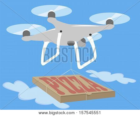 Gray drone fly in blue sky. Pizza delivery isolated icon. Spy photo videography. Innovation technology camera vector illustration.