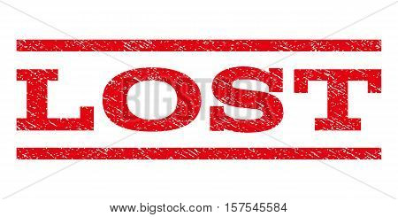 Lost watermark stamp. Text caption between parallel lines with grunge design style. Rubber seal stamp with dust texture. Vector red color ink imprint on a white background.