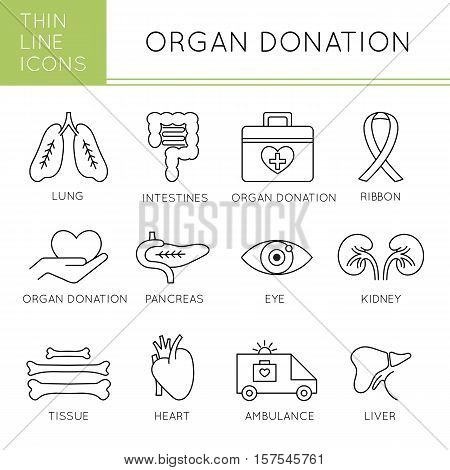 Organ Transplantation thin line icons set, vector illustration. Donate Life awareness, healthcare concept. Medical isolated symbols, black on white pictograms. Simple mono linear modern design.