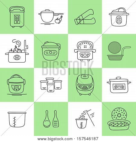 Hand drawn thin line icons set, vector illustration. Pressure cookers and accessories. Modern kitchenware. Isolated symbols. Simple mono linear design.