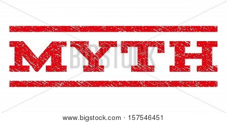 Myth watermark stamp. Text tag between parallel lines with grunge design style. Rubber seal stamp with dust texture. Vector red color ink imprint on a white background.