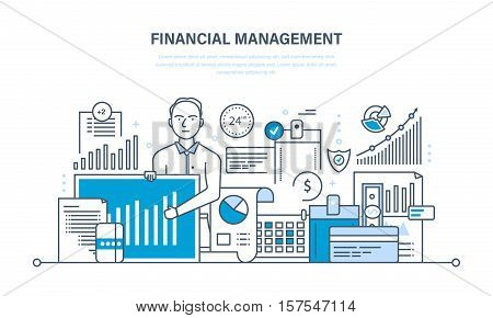 Financial management, analysis and market research, deposits, financial contributions and savings, statistics and accounting. Illustration thin line design of vector doodles, infographics elements.