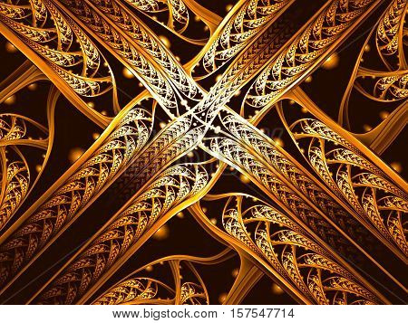 Abstract fractal background - computer-generated image. Digital art: crossed and intertwined openwork band. Bright ornament. For covers, posters, web design.