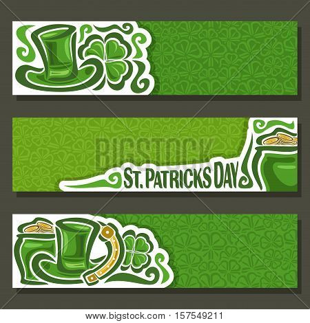 Vector abstract banner for St Patrick's Day on Shamrock background, greeting Clover header for congratulation title text, cover saint patrick day on shamrock leaf pattern ornament, lawn clover foliage