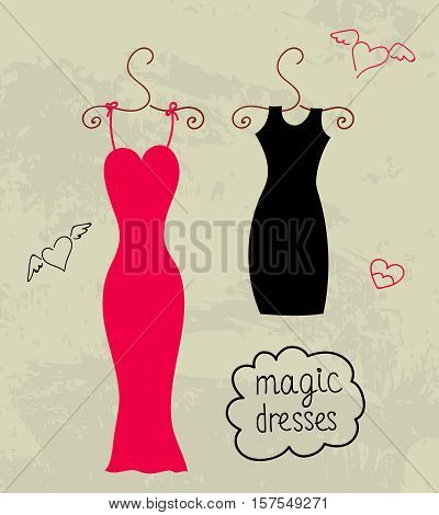 Little black and red dress on hanger. Vector illustration. Women's clothing for party.