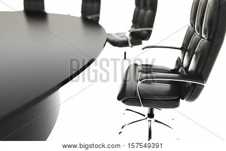 boardroom, meeting room and conference table and chairs. Business concept. Isolate 3d rendering
