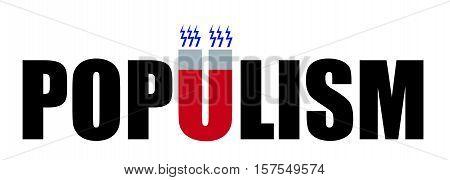 Populism. Word populism, letter U as magnet.