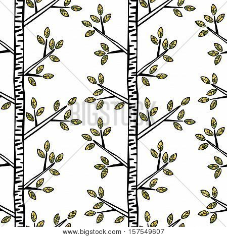 Birches. Trees, branches, leaves. Seamless vector pattern (background).