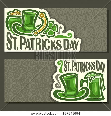 Vector abstract Banners for St. Patrick's Day fest on Shamrock gray background, greeting card Clover banner for congratulation text, invitation on saint patrick day with cylinder hat, pot, coin, mug.