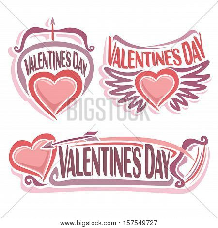 Vector logo for Happy Valentine's Day, pink emblem for romantic lovers, bow and flying arrow in hearts with wings - symbol of st. valentine holiday, greeting simple sign valentines isolated on white.