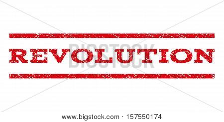 Revolution watermark stamp. Text tag between parallel lines with grunge design style. Rubber seal stamp with dirty texture. Vector red color ink imprint on a white background.