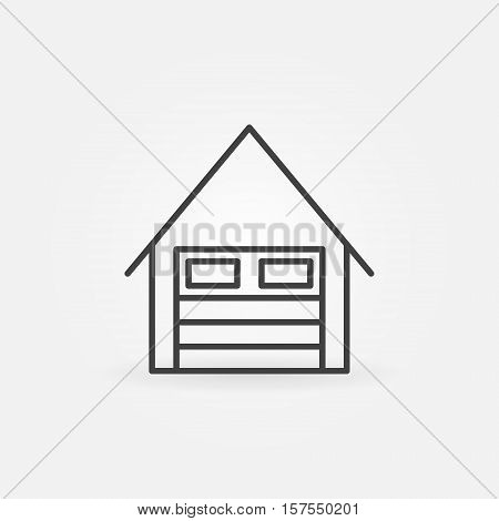 Garage linear icon. Vector minimal car garage symbol or logo element in thin line style