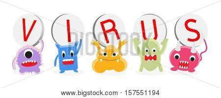 a virus cartoon character set vector on a white background