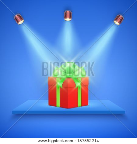 Light box with blue platform on blue backdrop with spotlights and gift box. Editable Background Vector illustration.