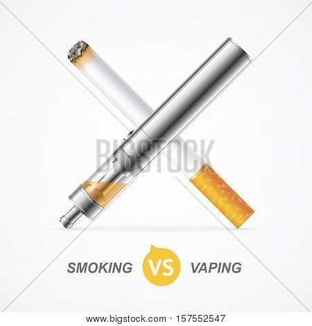 Smoking vs Vaping. Vape Trend E-cigarette or Tobacco Cigarette. Vector illustration