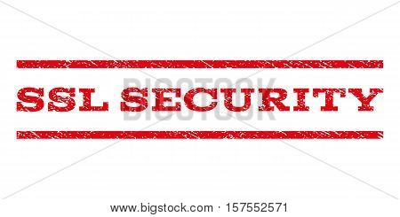 SSL Security watermark stamp. Text tag between parallel lines with grunge design style. Rubber seal stamp with dirty texture. Vector red color ink imprint on a white background.