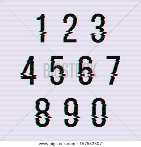 Frozen glitch screen distortion vector numbers. Set of numbers distorted, numeral order illustration