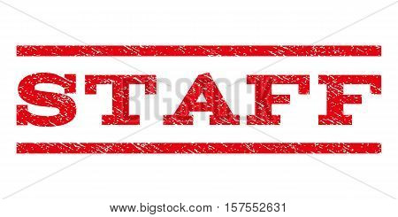 Staff watermark stamp. Text caption between parallel lines with grunge design style. Rubber seal stamp with scratched texture. Vector red color ink imprint on a white background.