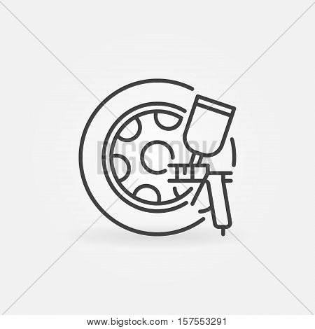 Car wheels paint icon. Vector rims paint mininmal symbol or logo element in thin line style