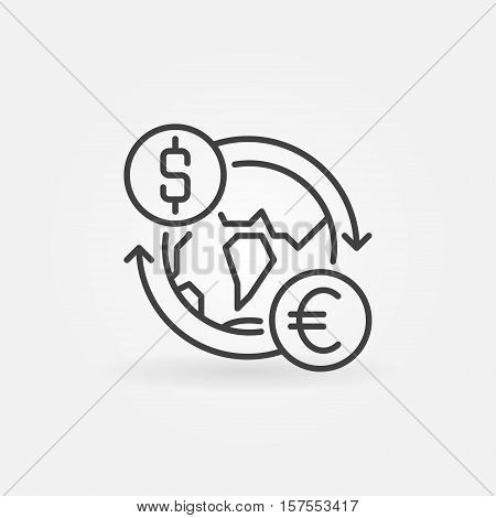 Dollar to Euro convert icon. Vector currency exchange worldwide concept sign in thin line style