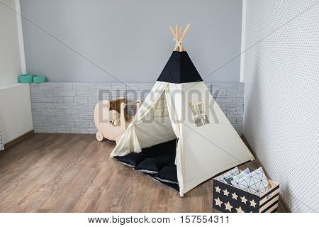 Light Playroom for kids with Teepee tent