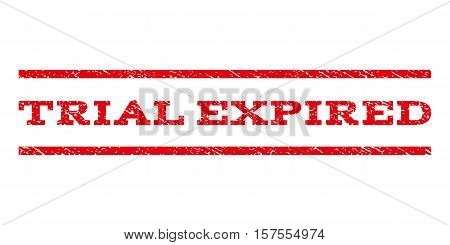 Trial Expired watermark stamp. Text caption between parallel lines with grunge design style. Rubber seal stamp with unclean texture. Vector red color ink imprint on a white background.