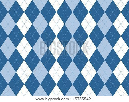 Blue white argyle seamless pattern. Flat design. Vector illustration.