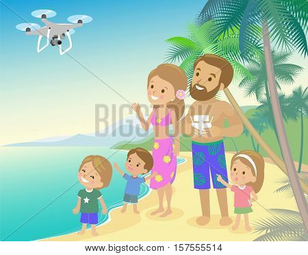 Big family mom dad and three children kids boy girl on vacation seashore ocean sea with drone taking photo videography vector flat cartoon