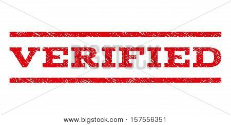 Verified watermark stamp. Text caption between parallel lines with grunge design style. Rubber seal stamp with scratched texture. Vector red color ink imprint on a white background.