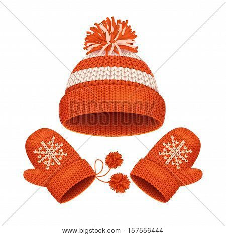 Red Hat with a Pompom and Mitten Set Winter Accessories. Vector illustration