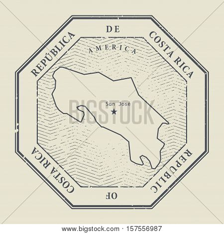 Stamp with the name and map of Costa Rica vector illustration
