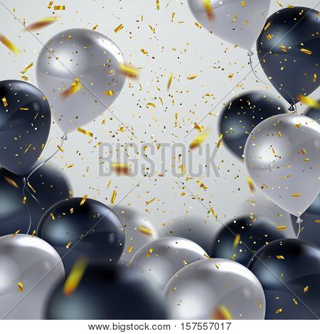 Vector festive illustration of flying realistic glossy balloons. Black and white balloon bunch with golden confetti glitters. Decoration element for holiday event invitation design