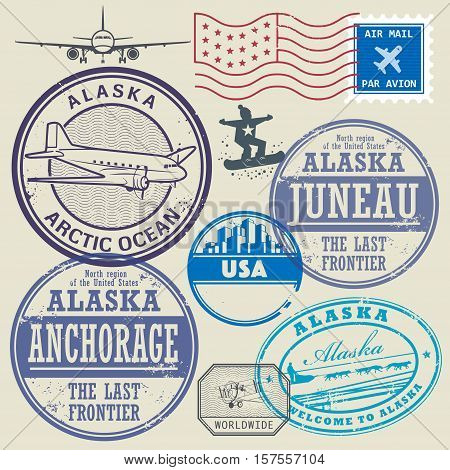 Grunge rubber stamp and signs set with the name and map of Alaska United States vector illustration