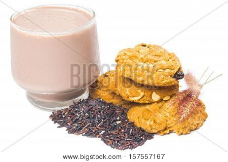 oat and meal rasin cookies with Coffee isolate on white