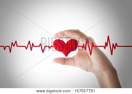 hands holding red heart with ecg line on white background Heart or pulse rate concept.