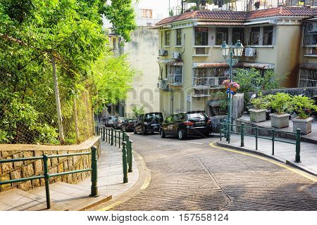 Macau - January 30, 2015: The Street In The Historic Centre Of Macau. Macau Is A Popular Tourist Att