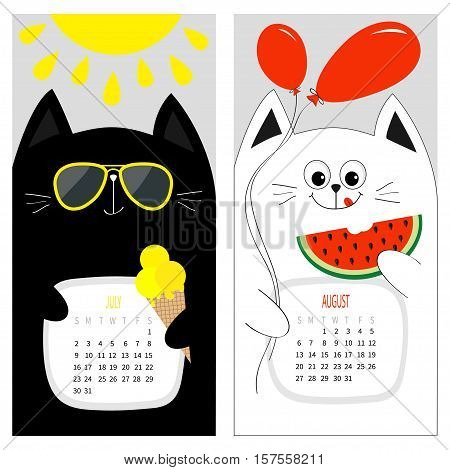 Cat calendar 2017. Cute funny cartoon white black character set. July August hello summer month. Ice cream yellow sun shining sunglasses. Red balloon watermelon. Flat design Gray background. Vector