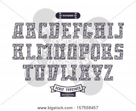 Rectangular serif font in urban style with graffiti texture. Print on white background